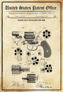 US Patent Office - Design for A Revolving Firearm - Entwurf für eine Revolverwaffe - Mason, Connecticut, 1881 - Design No 250.375 - Blechschild