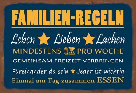 Blechschild Spruch Familien-Regeln - Leben Lieben Lachen Metallschild Wanddeko 20x30 cm tin sign