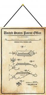 Blechschild Patent Entwurf für einen Fischköder Metallschild 20 x 30 m.Kordel