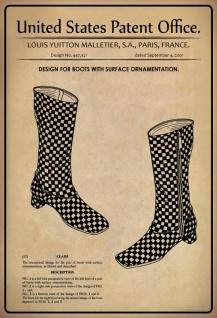 Blechschild Patent Entwurf Stiefel-Oberflächenverzierung Metallschild Wanddeko 20x30 cm tin sign