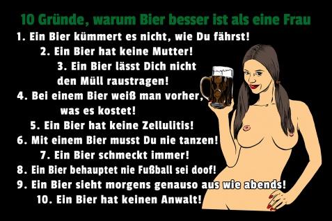 Blechschild Spruch 10 Gründe warum Bier besser ist als eine Frau Metallschild Wanddeko 20x30 cm tin sign