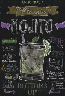 Cocktail Rezept recipe mojito Rum Minze anleitung schwarz hintergrund blechschild