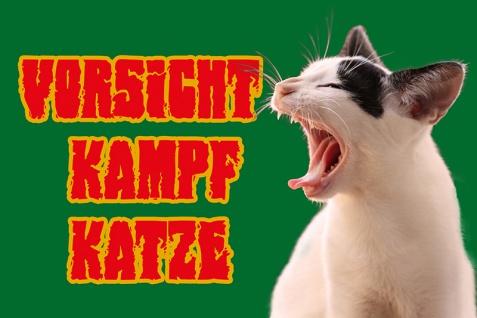 """ vorsicht Kampf katze"" blechschild, lustig, comic, metallschild"