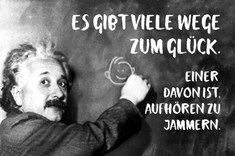 Blechschild Spruch Es gibt Wege zum Glück. Einstein Metallschild Wanddeko 20x30 cm tin sign