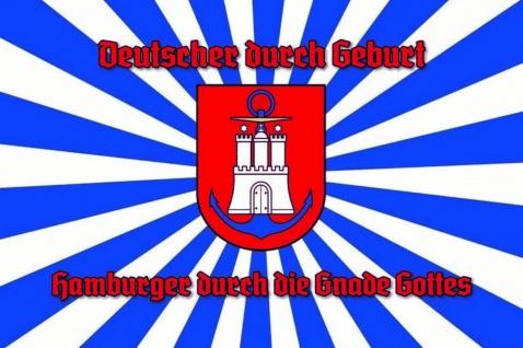Deutscher durch Geburt, Hamburger durch die Gnade Gottes Blechschild 20x30 cm