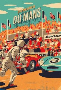 Nostalgie: 24h Le Mans Blechschild 2x30 cm