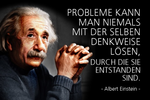 Albert Einstein - probleme kann man niemals mit der selben denkweise lösen..spruch blechschild