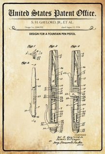 US Patent Office - Design for Fountain Pen Pistol - Entwurf für eine Füllfederhalter - Gaylord 1954 - Design No 2.844.902 - Blechschild