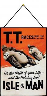 Blechschild Motorrad TT Races Isle of Man Metallschild Deko 20x30 mit Kordel