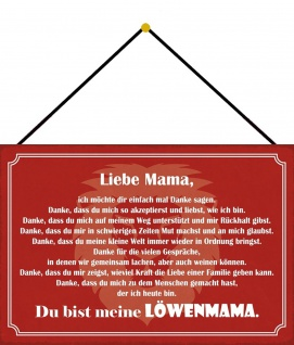 Blechschild Spruch Du bist meine Löwenmama Metallschild Deko 20x30 mit Kordel