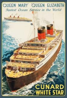 Blechschild Nostalgie Fastest Ocean Service in the World Metallschild Wanddeko 20x30 cm tin sign