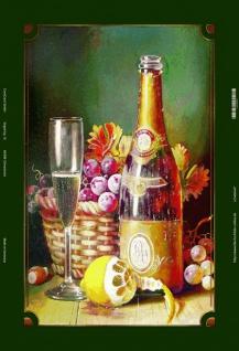 Weiß Wein sekt flasche mit citrone blechschild