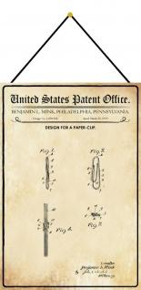 Blechschild Patent Entwurf für eine Büroklammer Metallschild 20 x 30 m.Kordel