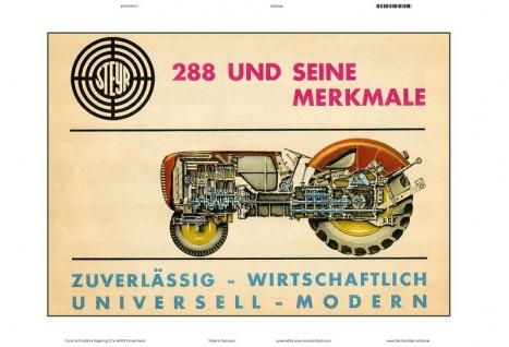 Steyr 288 und seine merkmale traktor Trekker Schlepper blechschild