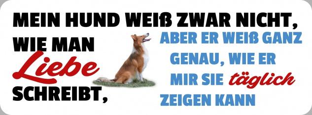 Blechschild Spruch Hund wie man Liebe schreibt Metallschild 27x10 cm Wanddeko tin sign