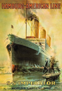 Retro: SS Imperator Hamburg - American Line Metallschild Wanddeko 20x30 tin sign