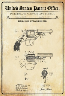 US Patent Office - Design for A Revolving Firearm- Entwurf für einen Revolver - Boland, Connecticut, 1885 - Design No 317.965 - Blechschild