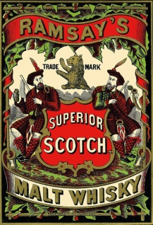 Ramsays Superior Malt Whisky Scotch alkohol schotte flaschen etikett blechschild