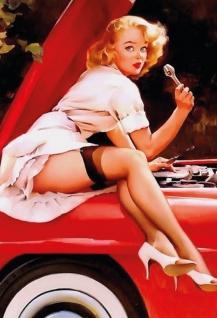 Nostalgie Pin up sexy Frau bei der Auto Reparatur Blechschild 20x30cm
