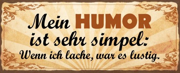 Blechschild Spruch Mein Humor ist sehr simpel Metallschild Wanddeko 27x10 cm tin sign