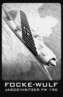 Militär, Retro: Flugzeug Focke-Wulf Jagdeinsitzer FW 190 Metallschild 20x30 Deko