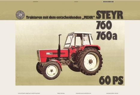 Steyr 760 & 760a 60 Ps traktor Trekker Schlepper blechschild