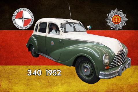 Blechschild Polizei Auto DDR Eisenacher 340 1952 Volkspolizei Metallschild Wanddeko 20x30 cm tin sign