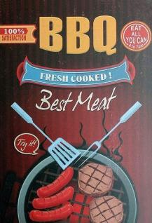 Blechschild BBQ Fresh cooked Meat frisch gegrilltes Fleisch Metallschild Wanddeko 20x30 cm tin sign