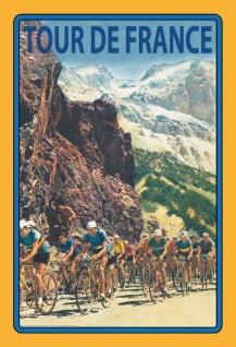 Tour de France Fahrradrennen durch Berge Blechschild 20x30 cm