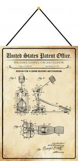Blechschild Patent Entwurf für ein Trommelschlagmechanismus Deko 20 x 30 Kordel
