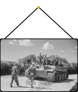 Blechschild Tiger Panzer (Afrika, fahrend) Metallschild Wanddeko 20x30 m. Kordel