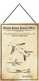 Blechschild Patent Entwurf Lenkflugkörper Metallschild Deko 20 x 30 m.Kordel