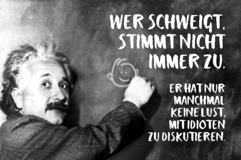 Blechschild Spruch Wer schweigt stimmt nicht Einstein Metallschild Wanddeko 20x30 cm tin sign