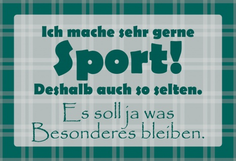 Blechschild Spruch Ich mache gerne Sport Metallschild Wanddeko 20x30 cm tin sign
