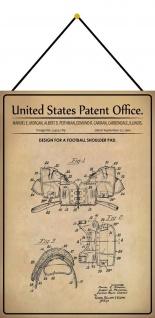 Blechschild Patent Entwurf für Football-Schulterpolster Deko 20 x 30 m.Kordel
