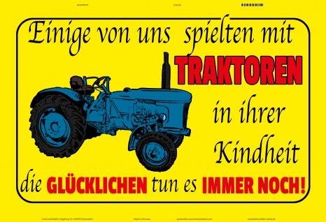 Blechschild Traktoren in der Kindheit Metallschild Wanddeko 20x30 tin sign