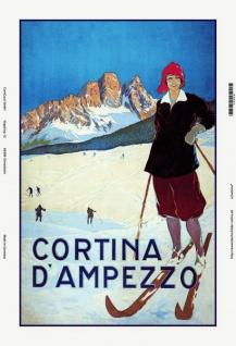 Nostalgie: Cortina D'Ampezzo (Dame auf Ski) Blechschild 20x30 cm