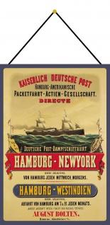 Blechschild Nostalgie Dampfschiff Hamburg NY Metallschild Deko 20x30 mit Kordel