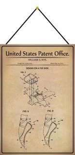 Blechschild Patent Entwurf für einen Zehenschuh Metallschild 20 x 30 m.Kordel