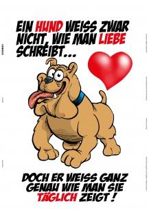 Blechschild Hund weiß Liebe zu zeigen Metallschild Wanddeko 20x30 tin sign