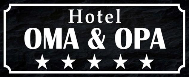 Blechschild Spruch Hotel Oma & Opa Fünf Sterne Metallschild 27x10 cm Wanddeko tin sign