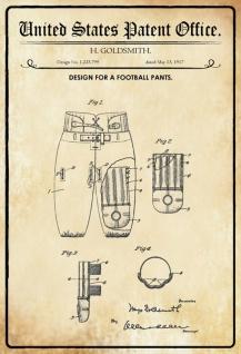 US Patent Office - Design for football pants - Entwurf für Fußball Hose - Goldsmith - Design No 1.225799 - 1917 - Blechschild - Vorschau