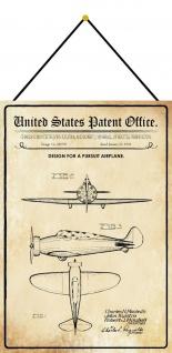 Blechschild Patent Entwurf Propeller - Flugzeug Metallschild 20 x 30 m.Kordel