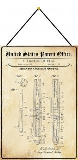 Blechschild Patent Entwurf für eine Stiftpistole Metallschild 20 x 30 m.Kordel