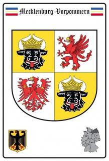 Blechschild Mecklenburg Vorpommern Wappen Metallschild Wanddeko 20x30 tin sign
