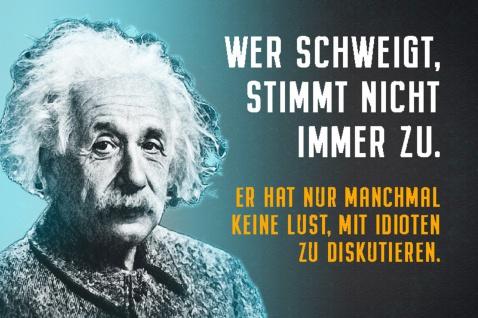 Blechschild Spruch Einstein Wer schweigt stimmt nicht immer Metallschild Wanddeko 20x30 cm tin sign