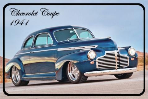 Chevrolet Coupe 1941 Auto reklame, blechschild, blau, USA
