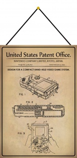 Blechschild Patent Entwurf für eine Handspielkonsole Metallschild 20 x 30 Kordel