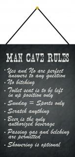 Blechschild Man Cave Rules Tafel Metallschild Deko 20x30 cm tin sign mit Kordel