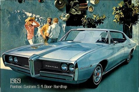 Pontiac Custom S 4-Door Hardtop 1969 Auto reklame blechschild, us, blau, sportswagen